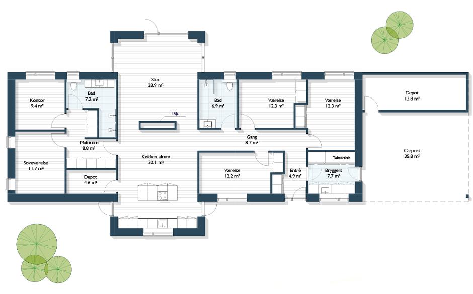 Vinkelhus 200 m2